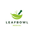 leaf medical bowl mortar logo icon vector image