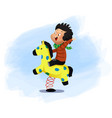 little boy is sitting on a horse swing vector image vector image