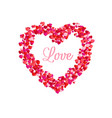 love inside of heart frame romantic decoration vector image vector image
