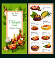 malaysian cuisine menu traditional asian food vector image vector image