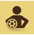 man hands on waist with soccer ball icon vector image vector image