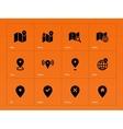 Map icons on orange background vector image