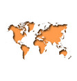 map of world cut into paper with inner shadow vector image vector image