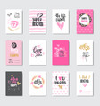 mothers day creative greeting cards set hand drawn vector image