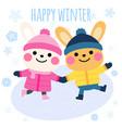 rabbits ice skating cartoon happy winter card vector image vector image