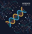 science day greeting card of dna strand vector image vector image