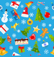 seamless pattern christmas symbols vector image