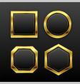 set dark golden geometric empty badge labels vector image