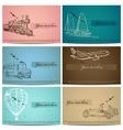 Set of vintage transport cards vector image