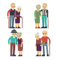 smiling and happy old couples elderly families vector image vector image