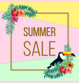 summer sale poster with color tropical leaves vector image vector image