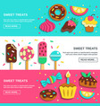 sweets candies flat horizontal banners vector image