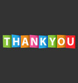 thank you colorful card vector image vector image
