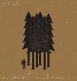 vintage emblem of tourist-traveler in forest vector image vector image