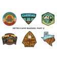 vintage hand drawn travel badges set camping vector image vector image