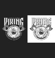 vintage monochrome viking emblem vector image