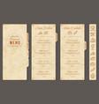 vintage restaurant menu template vector image vector image