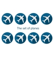 Airplane icon with long shadow vector image