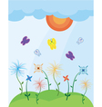 landscape with butterflies vector image