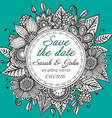 Save the date card with hand drawn doodle fancy vector image