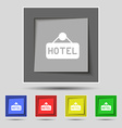hotel icon sign on original five colored buttons vector image
