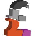 3d pound symbol vector image