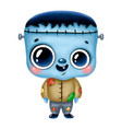 a cute cartoon halloween blue monster vector image