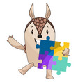 Armadillo with puzzle on white background