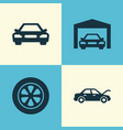 automobile icons set collection of wheel fixing vector image vector image