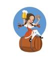 Beer girl in dirndl on keg with pretzel pinup vector image