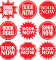 Book now red label Book now red sign Book now red vector image