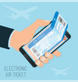 buying a ticket online e-ticket in smartphone vector image