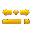 cartoon gold old buttons for game or web design vector image vector image