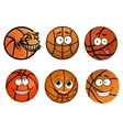 Cartoon happy traditional shaped basketball balls vector image vector image