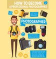 cartoon photographer camera and equipment vector image vector image