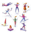 cartoon set of trendy women involved in vector image
