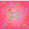 Christmas background with collection of candy cane vector image vector image