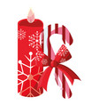 christmas candle design vector image vector image