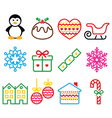Christmas winter icons with stroke - penguin vector image vector image
