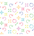 Colored arrows abstract web white seamless pattern vector image