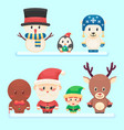 cute santa little funny elf polar bear penguin vector image