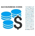 Dollar Coins Icon with Flat Set vector image vector image