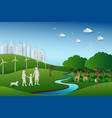 family back to the green nature landscape vector image vector image