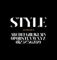 fashion industry style font design alphabet vector image vector image