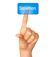 finger pushing learn solution vector image vector image