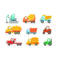 flat set colorful construction and cargo vector image vector image