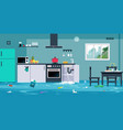 flood in the kitchen vector image vector image