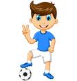 funny boy cartoon peace with football vector image vector image