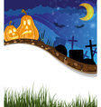 Funny Jack o lanterns on a cemetery vector image vector image