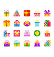 gift simple flat color icons set vector image vector image